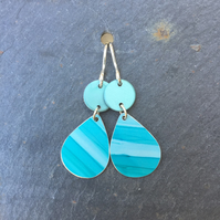 Teal and turquoise striped drop earrings