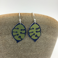 Honesty seed head anodised aluminium lime green dangly earrings.