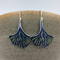 Hand printed lime green ginkgo leaf anodised aluminium dangly earrings