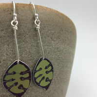 Anodised aluminium honesty seed head lime green dangly earrings.