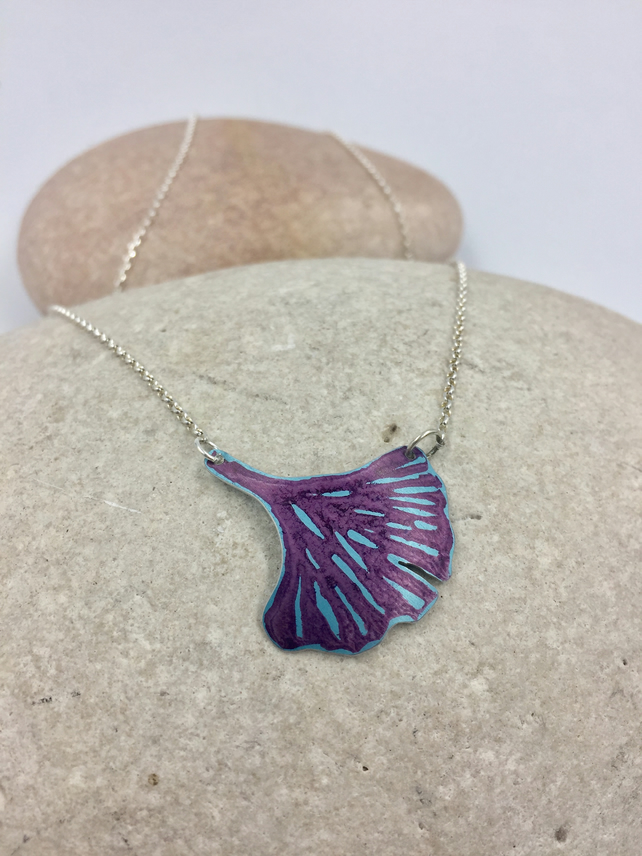 REDUCED Anodised aluminium ginkgo leaf teal and purple necklace