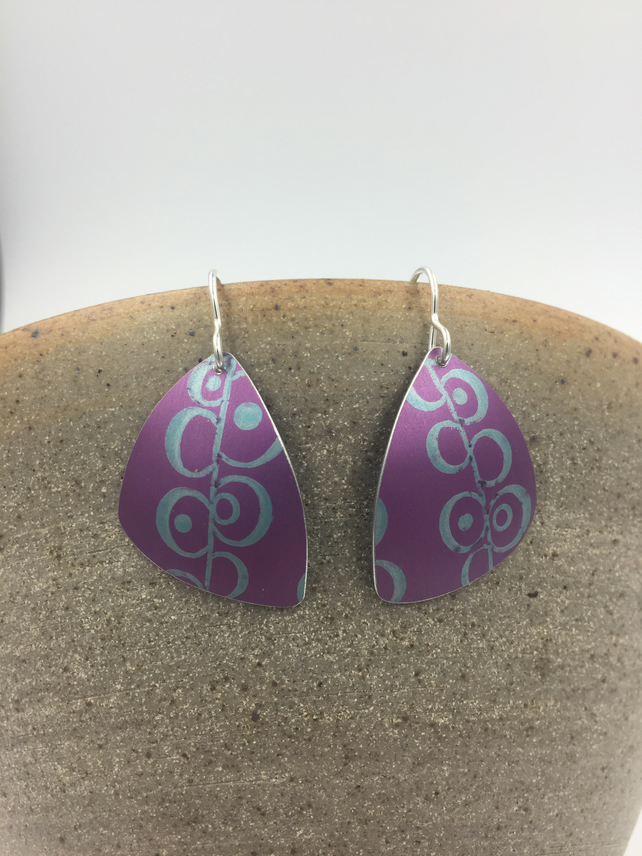 REDUCED Pink and turquoise hand printed anodised aluminium earrings