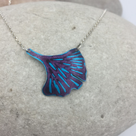 REDUCED Anodised aluminium ginkgo leaf turquoise and purple necklace