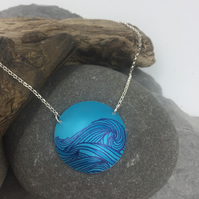 Turquoise anodised aluminium ocean wave circle necklace
