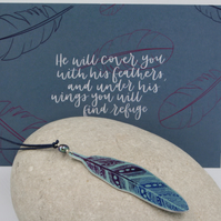 Anodised aluminium long length feather and pearl necklace with postcard