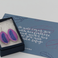 Pink anodised aluminium oval feather earrings and postcard set