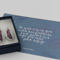 Teal and purple anodised aluminium feather earrings and postcard set