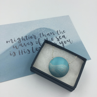 Pale turquoise anodised aluminium ocean wave circle pendant and card set