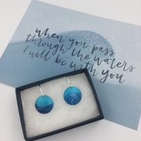 Anodised aluminium turquoise ocean wave earrings with postcard set