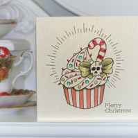 Candy cane cupcake tattoo handmade Christmas card