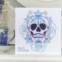 Frosted blue rose Day of the Dead sugar skull tattoo handmade Christmas card