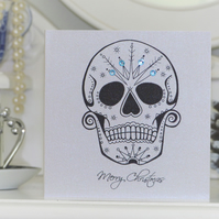Frosted day of the dead sugar skull tattoo handmade christmas card