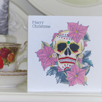 Poinsettia Day of the Dead sugar skull tattoo handmade Christmas card