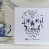 Snowflake Day of the Dead sugar skull tattoo handmade Christmas Card