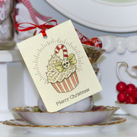 Candy cane cupcake tattoo handmade Christmas set of 3 gift tags