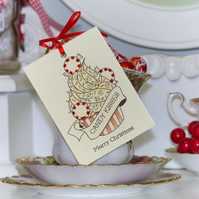 Candy Kisses cupcake tattoo handmade set of 3 Christmas gift tags