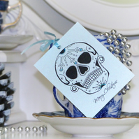 Iced Sugar Skull Day of the Dead tattoo set of 3 handmade Christmas gift tags