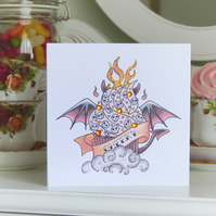 Cheeky devil cupcake tattoo handmade birthday card