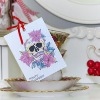 Poinsettia Day of the Dead sugar skull tattoo set of 3 handmade Christmas tags
