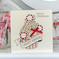Candy Kisses cupcake tattoo handmade Christmas card