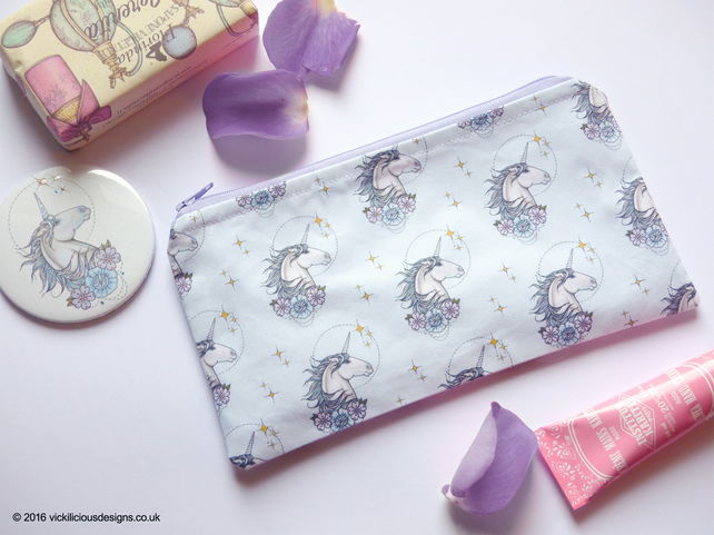 MAGICAL Unicorn tattoo handmade makeup bag