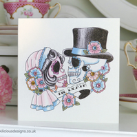 Bride & groom sugar skull 'Til Death' tattoo handmade Anniversary card
