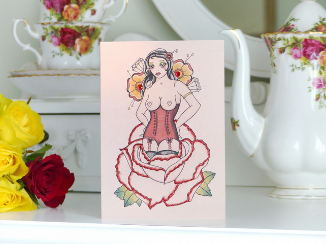 Rose Pin Up Girl Tattoo Luxury Handmade Alternative Blank Birthday Card
