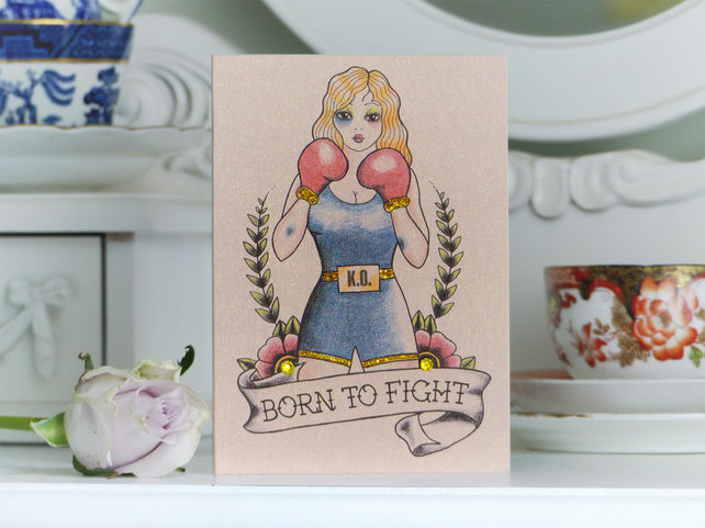 BORN TO FIGHT Boxer Pinup Girl Tattoo Luxury Handmade Blank Birthday Card