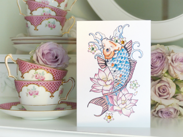 Japanese Koi Carp and Lotus Flower Tattoo Alternative Handmade Birthday Card