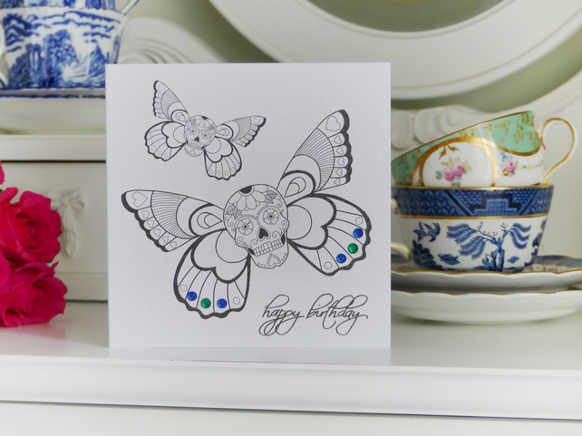 Winged sugar skull tattoo alternative handmade birthday card
