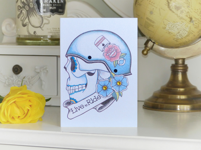 LIVE TO RIDE biker sugar skull tattoo handmade alternative birthday card