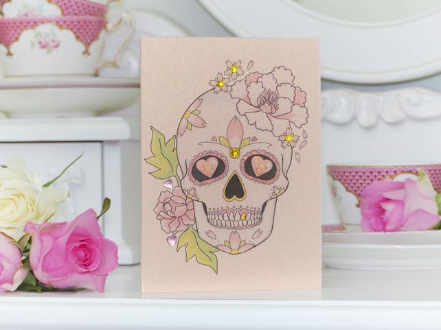 Peony & love heart sugar skull tattoo handmade alternative birthday card