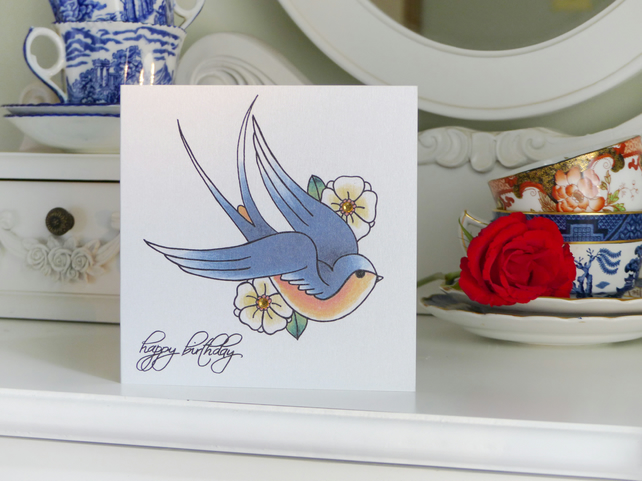 Sailor Jerry Style Blue Swallow & Blossom Tattoo Alternative Birthday Card