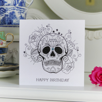 Diamonds are forever sugar skull tattoo outline birthday card
