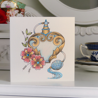 Vintage perfume atomiser tattoo handmade alternative birthday card
