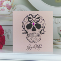 Pink Butterfly Sugar Skull day of the dead tattoo hadmade birthday card