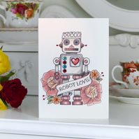 Vintage Toy Robot and Rose Tattoo Handmade Alternative Birthday Card
