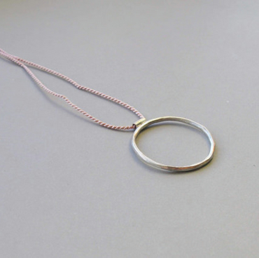 Silver and Silk Hoop Necklace