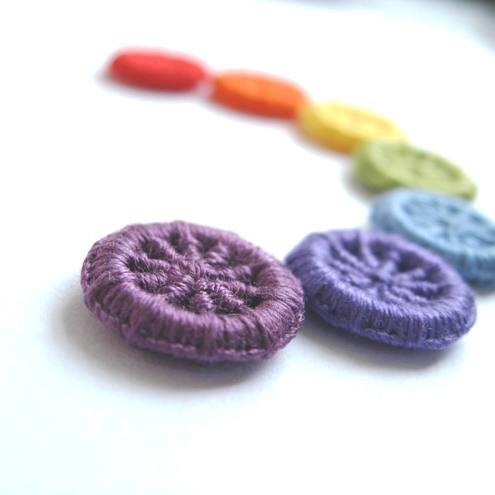 Handmade Dorset Cross Wheel Buttons - Rainbow - Set of 7