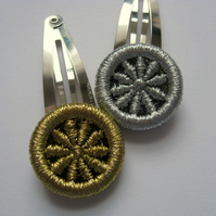 RESERVED Gold & Silver  Colour Dorset Button Hair Snaps
