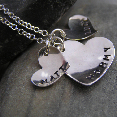 Sterling silver necklace with 3 personalised heart charms. Ref. PT2004-43