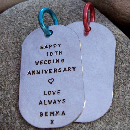 Personalised pure aluminium message dog tag/ keyring. Ref. PT 2004 -52. Stamped with your name, date or a short message. The perfect aluminium gift for 10th wedding anniversary.***More personalised wedding anniversary gifts available***
