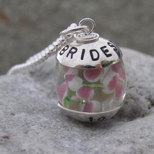Bridesmaid necklace personalised with bridesmaid's name & wedding date, featuring a pink floating flowers lampwork glass bead. Ideal for weddings! Ref. PT 2004-44***More Personalised necklaces available @ Personalised Treasures shop***
