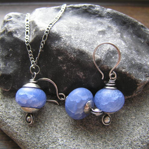 Blue Necklace and Earrings set. Made with Sterling Silver and Natural Sand Surface Blue Agate Beads. Comes with a silver figaro chain.