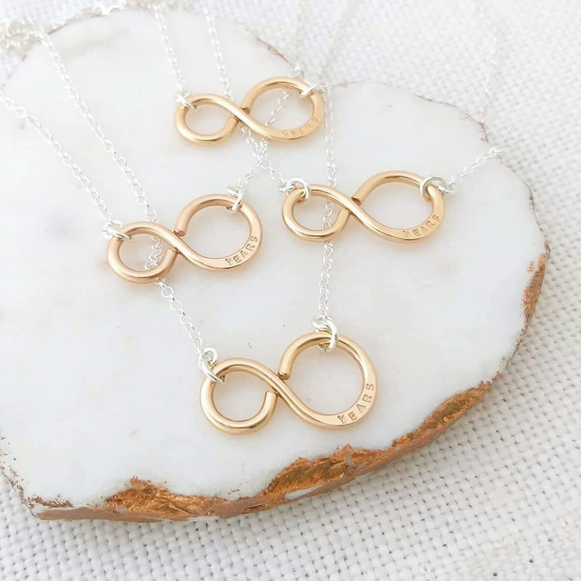 Bronze infinity necklace, 8th anniversary, bronze gift for her, number 8