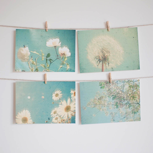 Garden - Pastel flower art, Set of Four Postcards