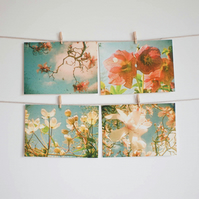 Set of Four Postcards - Flower