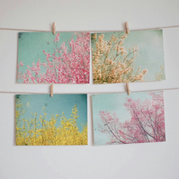 Set of Four Postcards - Spring