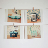 Set of Four Postcards - Happy