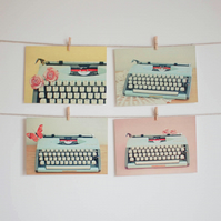Set of Four Postcards - Typewriter